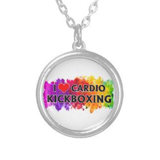 私は心臓Kickboxingを愛します シルバープレートネックレス