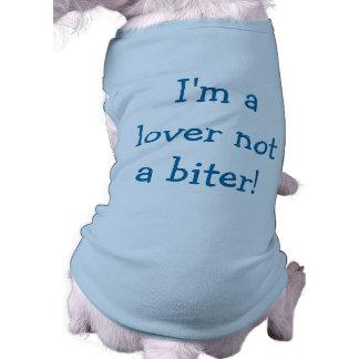 私は恋人ない噛む人犬のワイシャツはです(青い) ペット服