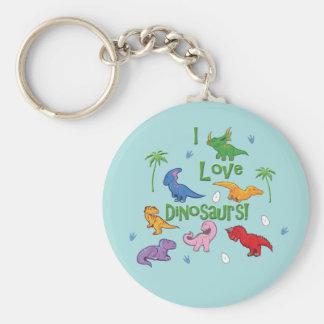 私は恐竜を愛します! (かわいい) キーホルダー
