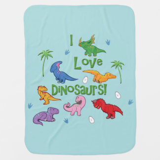 私は恐竜を愛します! (かわいい) ベビー ブランケット
