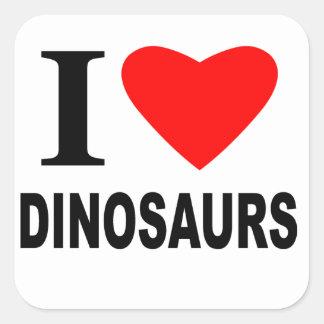 私は恐竜を愛します スクエアシール