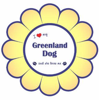 私は愛しますグリーンランド私の犬(メス犬)を 写真彫刻オーナメント