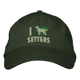 私は愛しますゴードンセッターの刺繍された帽子(緑)を 刺繍入りキャップ