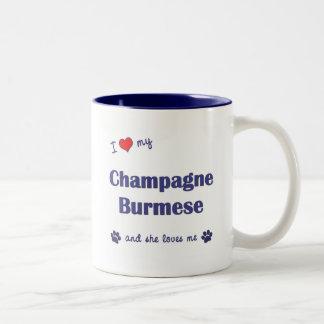 私は愛しますシャンペンの私のビルマ語(メス猫)を ツートーンマグカップ