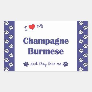 私は愛しますシャンペンの私のビルマ語(多数猫)を 長方形シール