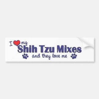 私は愛しますシーズー(犬)のTzuの私の組合せ(多数犬)を バンパーステッカー