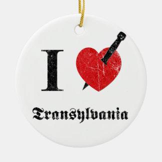 私は愛しますトランシルバニア(黒によって腐食させるフォント)を セラミックオーナメント