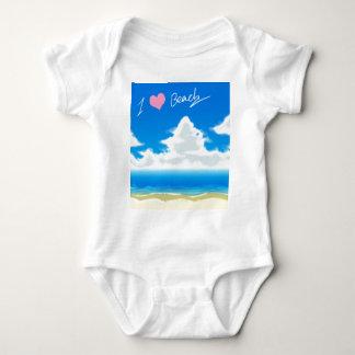 私は愛しますビーチ(文字)を ベビーボディスーツ