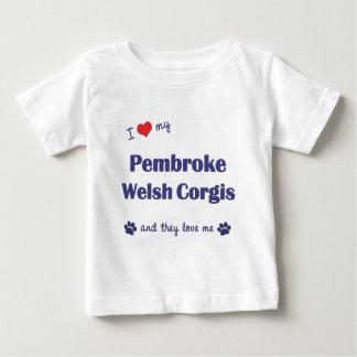 私は愛しますペンブロークのウェールズの私のコーギー(多数犬)を ベビーTシャツ