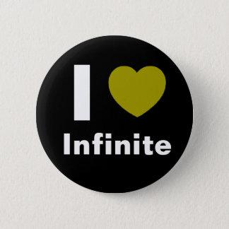 私は愛します無限ボタン(黒)を 5.7CM 丸型バッジ