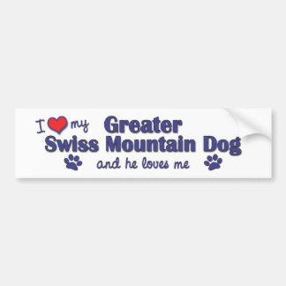 私は愛します私のより素晴らしいスイス山犬(オス犬)を バンパーステッカー