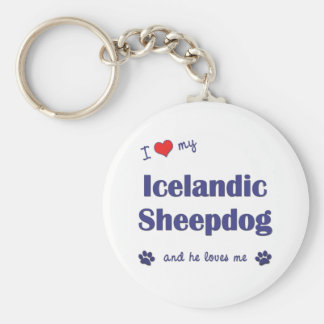 私は愛します私のアイスランドの牧羊犬(オス犬)を キーホルダー
