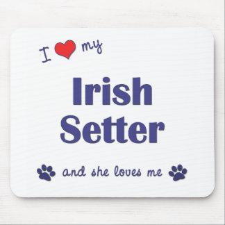 私は愛します私のアイリッシュセッター(メス犬)を マウスパッド