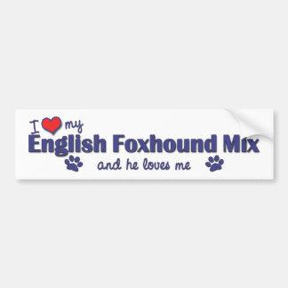 私は愛します私のイングリッシュ・フォックスハウンドの組合せ(オス犬)を バンパーステッカー