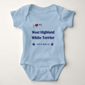 私は愛します私のウエスト・ハイランド・ホワイト・テリア(オス犬)を ベビーボディスーツ