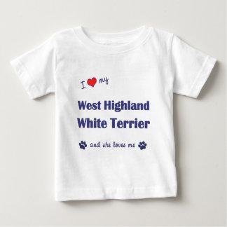 私は愛します私のウエスト・ハイランド・ホワイト・テリア(メス犬)を ベビーTシャツ