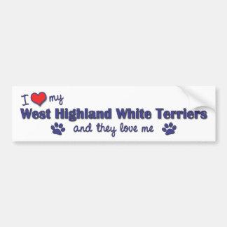 私は愛します私のウエスト・ハイランド・ホワイト・テリア(数々のな犬)を バンパーステッカー