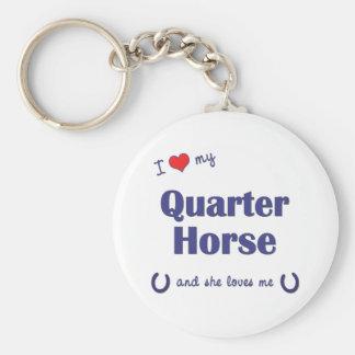 私は愛します私のクォーター馬(雌馬)を キーホルダー