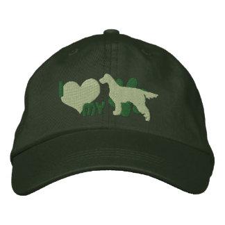 私は愛します私のゴードンセッターの刺繍された帽子(緑)を 刺繍入りキャップ