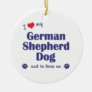 私は愛します私のジャーマン・シェパード犬(オス犬)を セラミックオーナメント