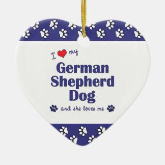 私は愛します私のジャーマン・シェパード犬(メス犬)を セラミックオーナメント