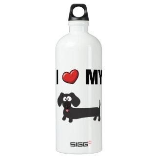 私は愛します私のダックスフント(黒)を ウォーターボトル