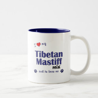 私は愛します私のチベタン・マスティフの組合せ(オス犬)を ツートーンマグカップ