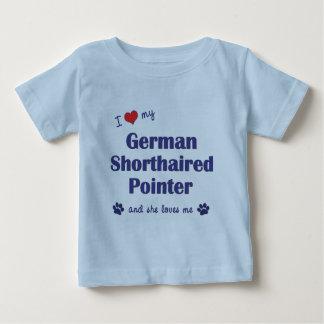 私は愛します私のドイツShorthairedポインター(メス犬)を ベビーTシャツ