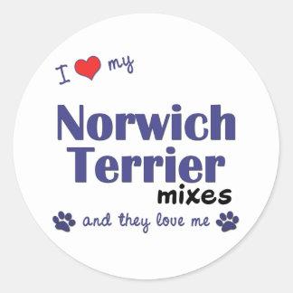 私は愛します私のノリッジテリアの組合せ(多数犬)を ラウンドシール