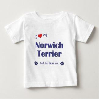 私は愛します私のノリッジテリア(オス犬)を ベビーTシャツ