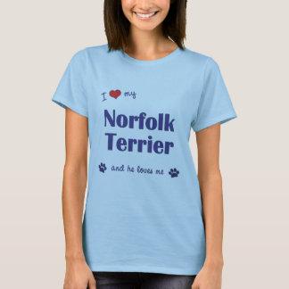 私は愛します私のノーフォークテリア(オス犬)を Tシャツ