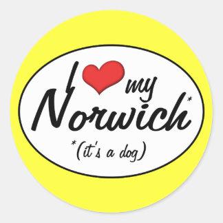 私は愛します私のノーリッジ(それは犬です)を ラウンドシール
