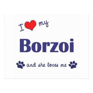 私は愛します私のボルゾイ(メス犬)を ポストカード
