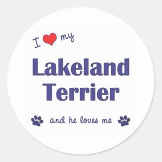 私は愛します私のレークランドテリア(オス犬)を ラウンドシール
