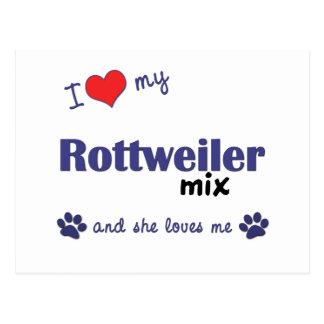 私は愛します私のロットワイラーの組合せ(メス犬)を ポストカード