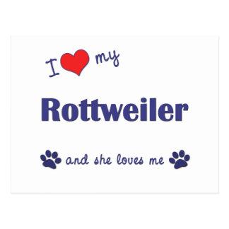 私は愛します私のロットワイラー(メス犬)を ポストカード