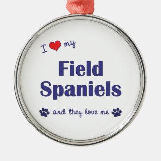 私は愛します私の分野スパニエル犬(多数犬)を メタルオーナメント