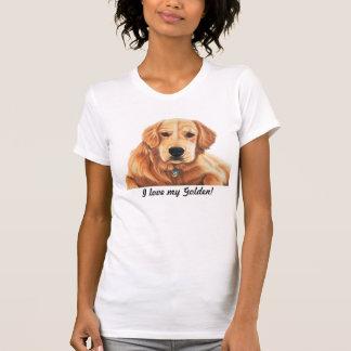 """""""私は愛します私の金を!"""" ゴールデン・リトリーバー犬の恋人のティー Tシャツ"""