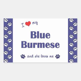 私は愛します私の青いビルマ語(メス猫)を 長方形シール