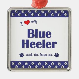 私は愛します私の青いHeeler (メス犬)を メタルオーナメント