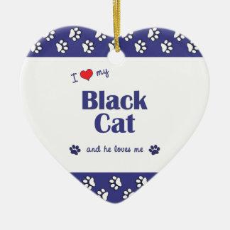 私は愛します私の黒猫(オス猫)を セラミックオーナメント