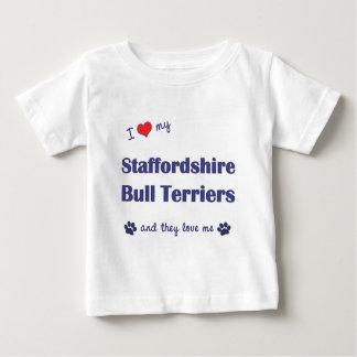 私は愛します私の(犬)スタッフォードのブルテリア(数々のな犬)を ベビーTシャツ
