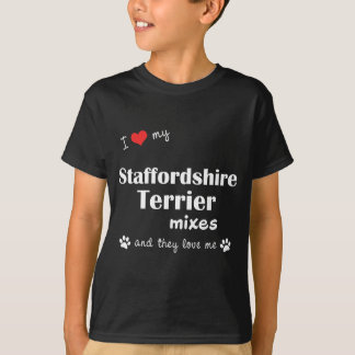 私は愛します私の(犬)スタッフォードテリアの組合せ(数々のな犬)を Tシャツ