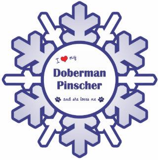 私は愛します私の(犬)ドーベルマン・ピンシェル(メス犬)を 写真彫刻オーナメント