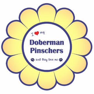 私は愛します私の(犬)ドーベルマン・ピンシェル(多数犬)を 写真彫刻オーナメント
