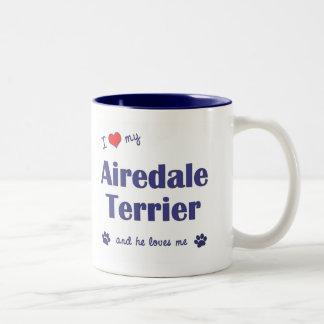 私は愛します私のAiredaleテリア(オス犬)を ツートーンマグカップ