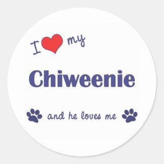 私は愛します私のChiweenie (オス犬)を ラウンドシール