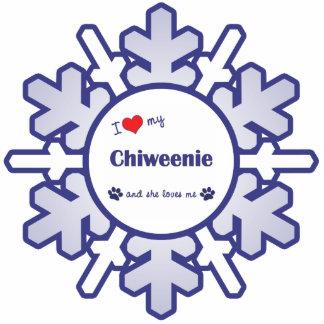 私は愛します私のChiweenie (メス犬)を 写真彫刻オーナメント