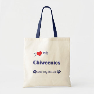 私は愛します私のChiweenies (多数犬)を トートバッグ