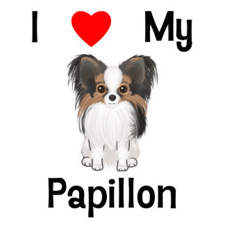 私は愛します私のPapillon (写真)を 写真彫刻(台付き)